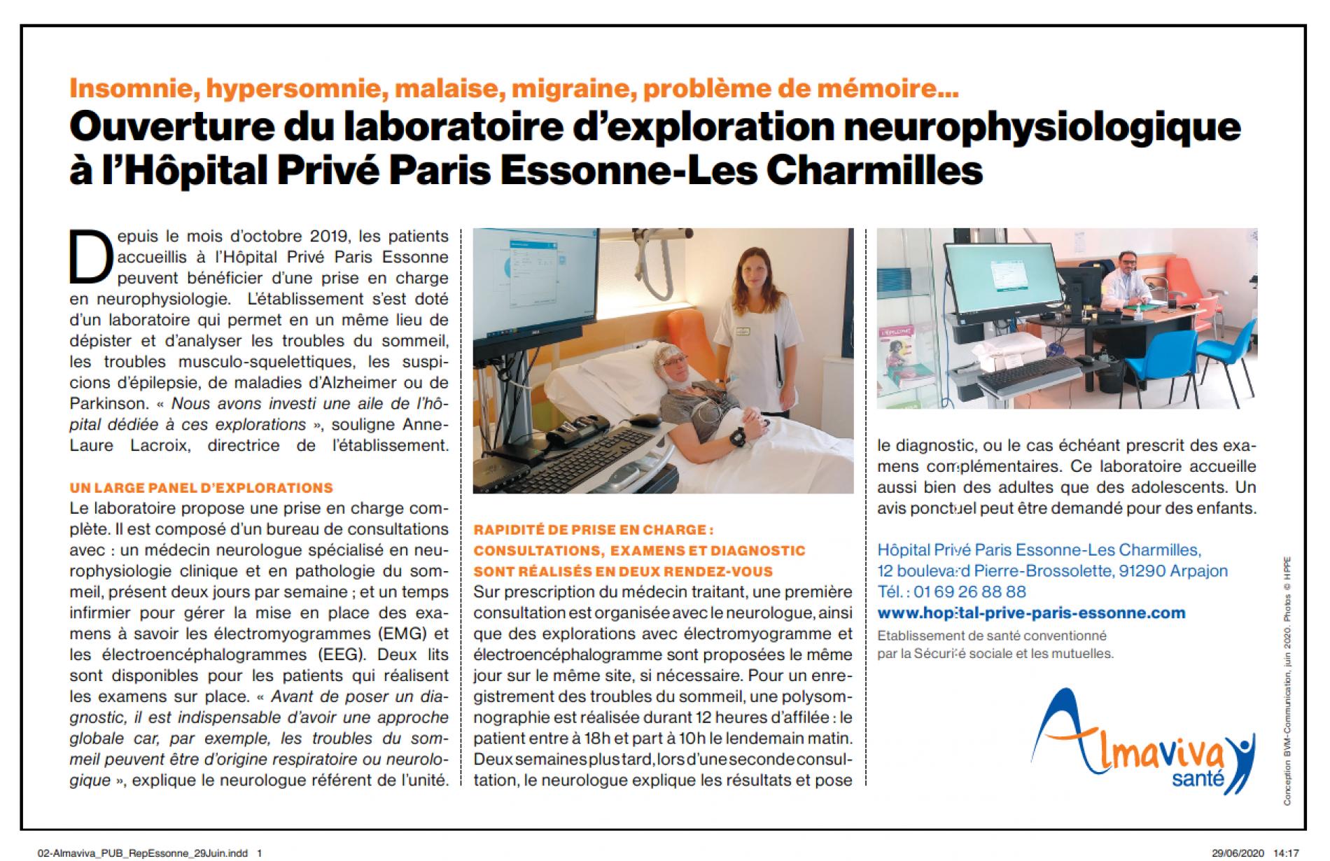 Article de presse ( Le Republicain ) Laboratoire d'explorations neurophysiologique